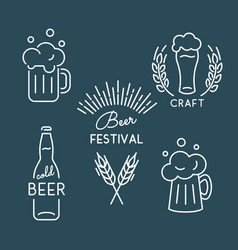 beer festival oktoberfest set of linear icons vector image