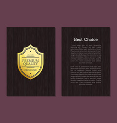 best choice premium quality exclusive golden label vector image