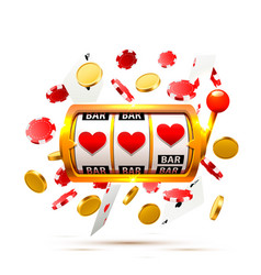 big win slots heart banner casino background vector image
