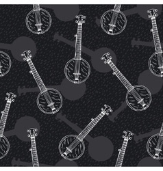 Black and White Seamless Pattern with Banjos vector image