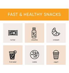 black icons of fast and healthy snacks vector image