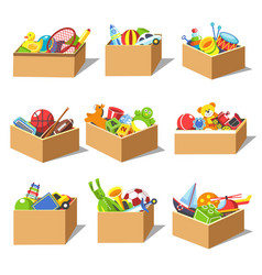 Boxes with kid toys icons vector