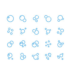 Bubbles line icons soap foam and air vector