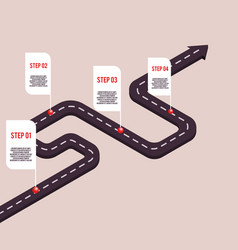 Business milestone road with map pointers vector