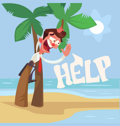 Businessman character lost desert island vector