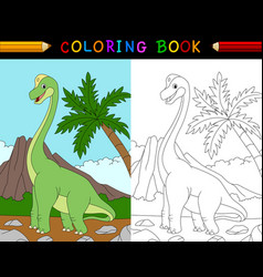 cartoon brachiosaurus coloring book vector image