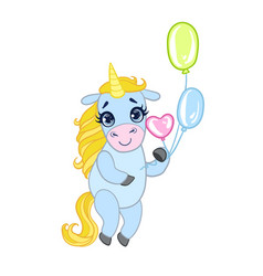 Cartoon light blue lovely unicorn standing and vector