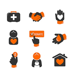 Charity and donation icons vector image
