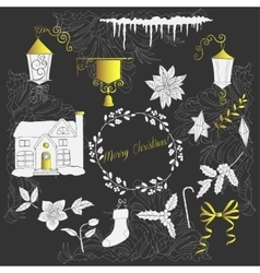 Christmas silhouettes and elements vector