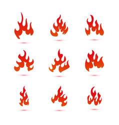 collection fire and flames logo graphic vector image