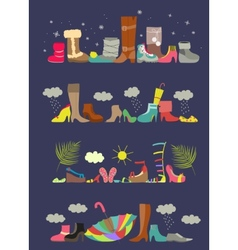 Collection of various shoes Four seasons vector image
