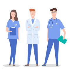 collective doctors and nurse characters set vector image