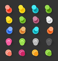 Color pins flat design collection elements clip-ar vector image
