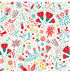 colorful floral seamless pattern with berries vector image