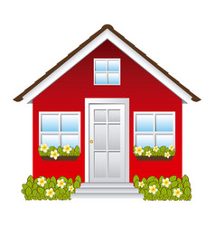 Comfortable facade house with garden vector