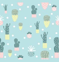 Cute doodle cactus seamless pattern vector