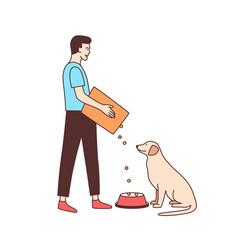 Cute male volunteer feeding stray dog in animal vector
