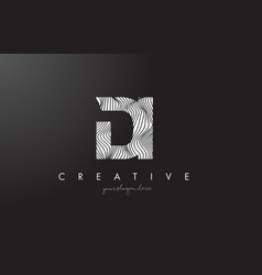 Di d i letter logo with zebra lines texture vector