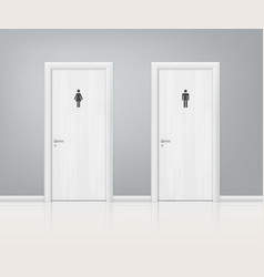 Doors wc realistic composition vector