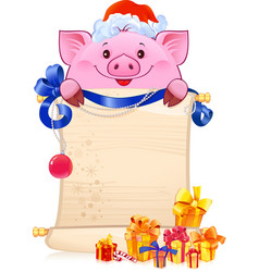 earthy pig for the new year 2019 vector image