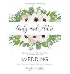 Elegant floral wedding invite save the date card vector