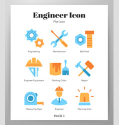 Engineer icons flat pack vector