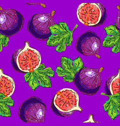 Figs fruit pattern figs half and figs leaves vector