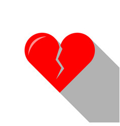 flat icon of broken heart for valentines day vector image