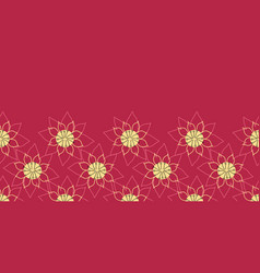 floral lotus border lily flower on red background vector image