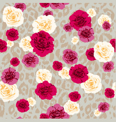 Flower textured animal pattern vector