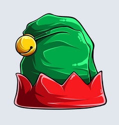 Funny red and green elf hat isolated vector