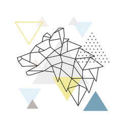 geometric wolf silhouette on triangle background vector image