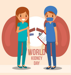 Girl doctor surgeon kidney world campaign vector