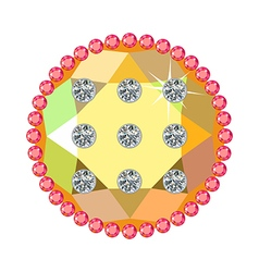 Golden button with rubies and diamonds vector