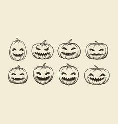 Halloween symbol set of funny pumpkins sketch vector