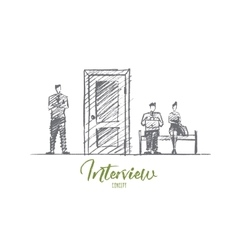 Hand drawn business people waiting for interview vector image
