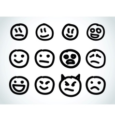 hand drawn smile face design elements vector image