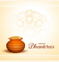 Happy dhanteras greeting with golden coins pot vector