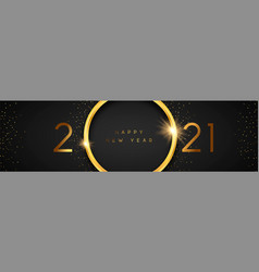 Happy new year 2021 gold 3d ring black banner vector