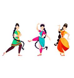 Happy onam indian women dancing vector