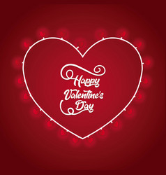happy valentines day lettering card with hearts vector image