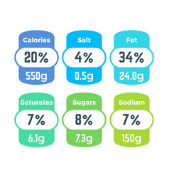 healthy food packing nutrition labels with vector image