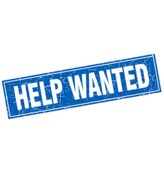 Help wanted blue square grunge stamp on white vector