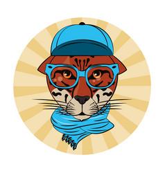 Hipster leopard cool sketch vector