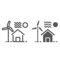 house with windmill line and glyph icon vector image
