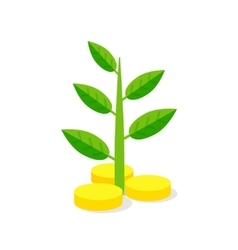 Investments Icon Plant growing on coins vector
