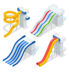 Isometric colorful water slides and tubes vector