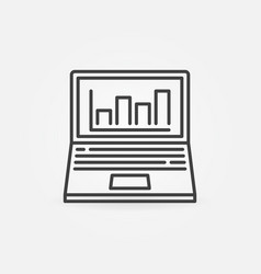 laptop with bar chart outline concept icon vector image