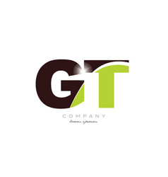 Letter gt g t alphabet combination in green and vector