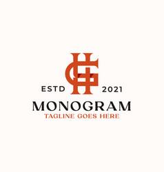 letter hg gh h g monogram logo template in vector image